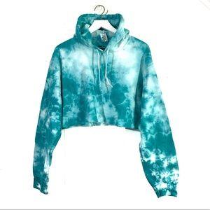 Teal & White Tie Dye Cropped Hoodie Sweatshirt